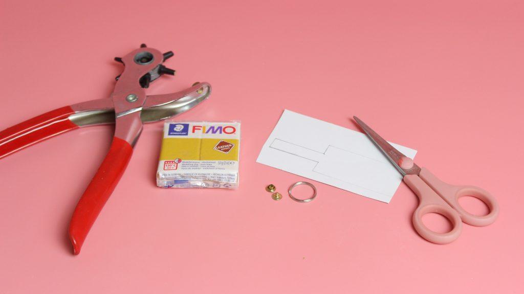 Materialien für DIY Schlüsselanhänger aus Fimo